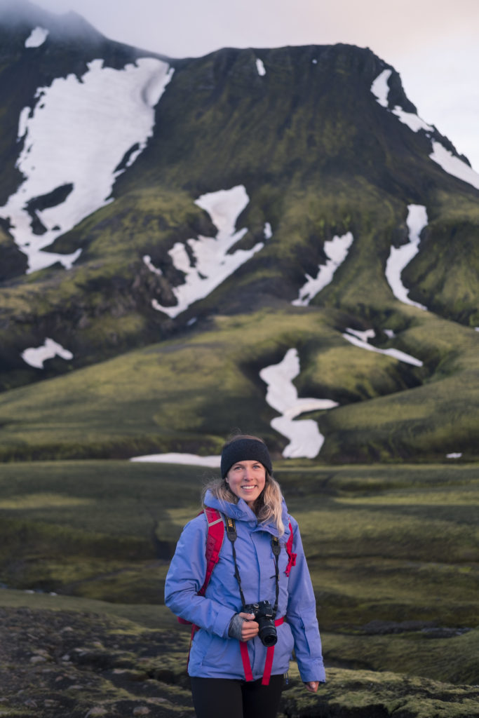 Veerle Witte in de hooglanden van IJsland.
