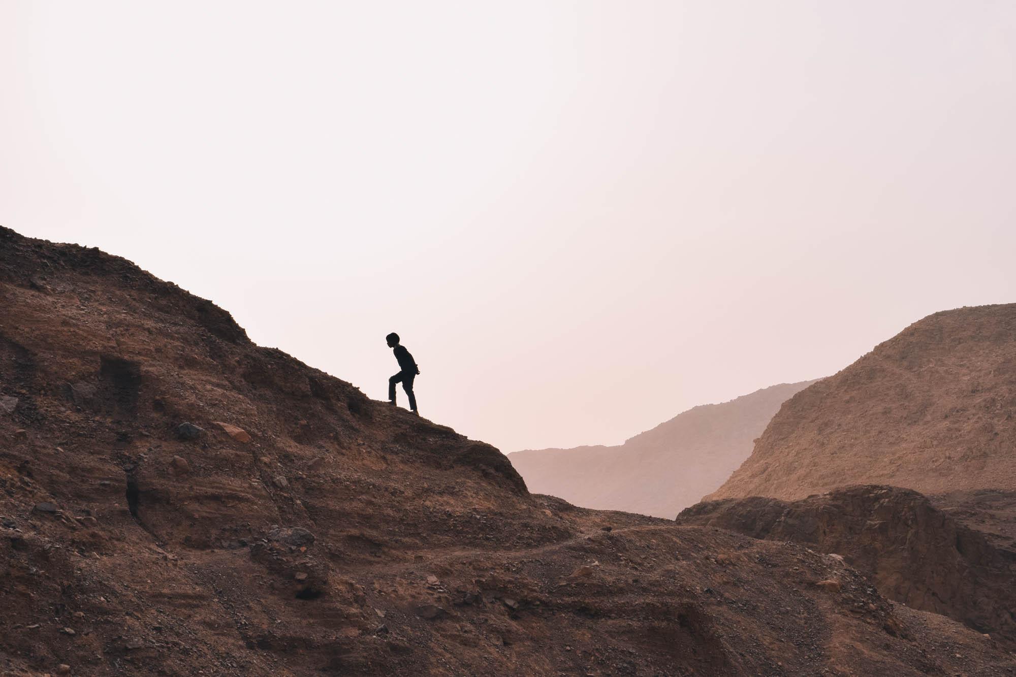 zonsondergang in natuurreservaat Dana in Jordanië