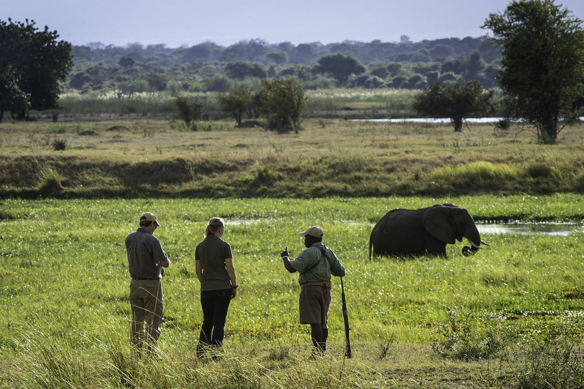 Gasten wandelen met een gids door de Zambezi-vallei in Zimbabwe.